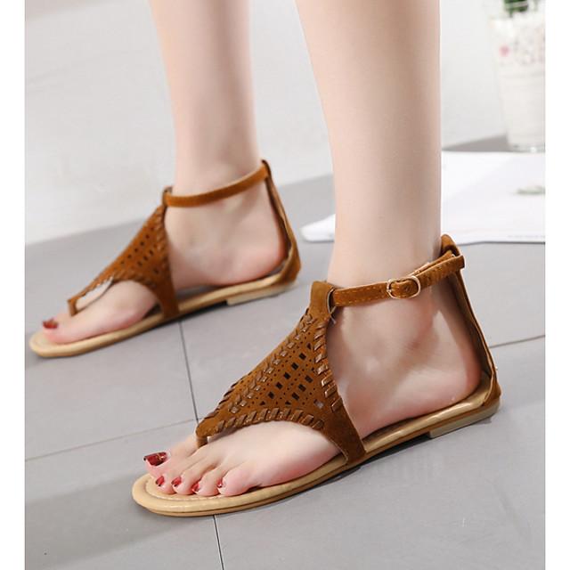 Women's Sandals Flat Sandal Summer Flat Heel Open Toe Daily PU Black / Brown / Gray