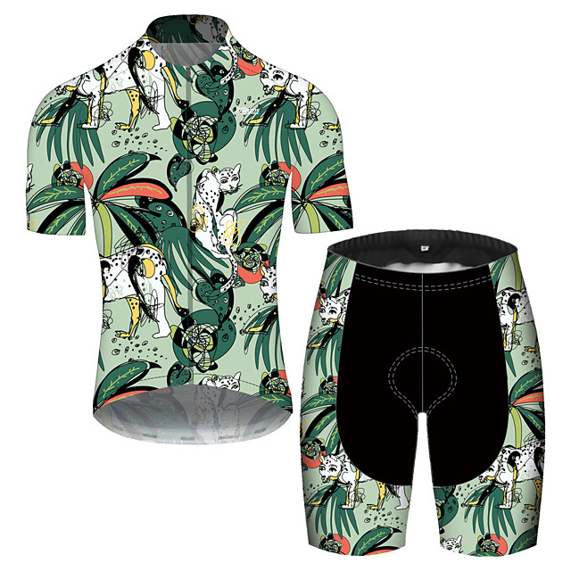 21Grams Men's Short Sleeve Cycling Jersey with Shorts Spandex Polyester Green Oktoberfest Beer Bike Clothing Suit UV Resistant Quick Dry Sports Solid Color Mountain Bike MTB Road Bike Cycling