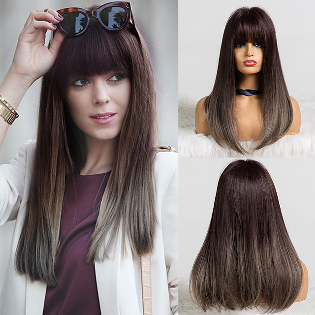 Synthetic Wig Matte Natural Straight Neat Bang Wig Long Flaxen Synthetic Hair 18 inch Women's Simple Soft Waterfall Gray