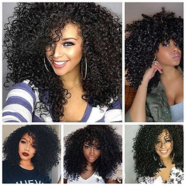 Synthetic Wig Afro Curly Asymmetrical Wig Long Black Synthetic Hair 18 inch Women's Cool curling Fluffy Black