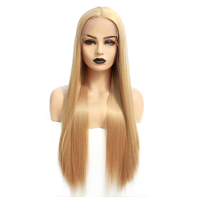 Synthetic Lace Front Wig Straight Gaga Middle Part Lace Front Wig Blonde Long Blonde Synthetic Hair 22-26 inch Women's Heat Resistant Women Middle Part Blonde / Glueless
