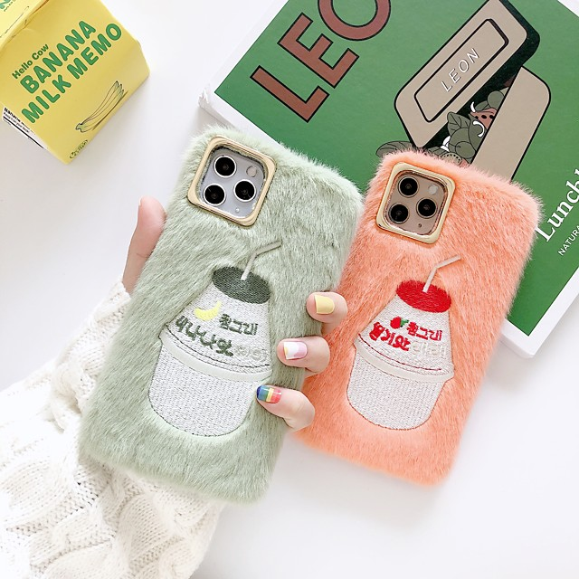Plush Embroidery Cartoon Case for Apple iPhone 11 Pro Max X XR XS Max 8 Plus 7 Plus 6 Plus SE Back Cover