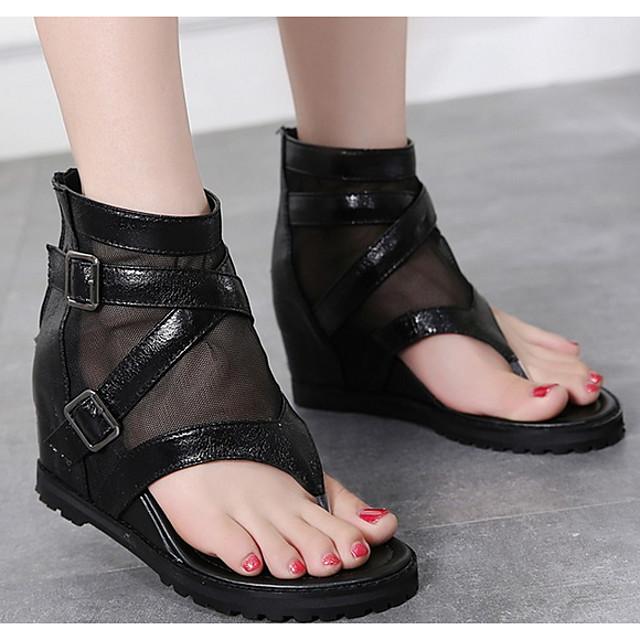 Women's Sandals Wedge Sandals Summer Wedge Heel Round Toe Daily Mesh Black / Gray