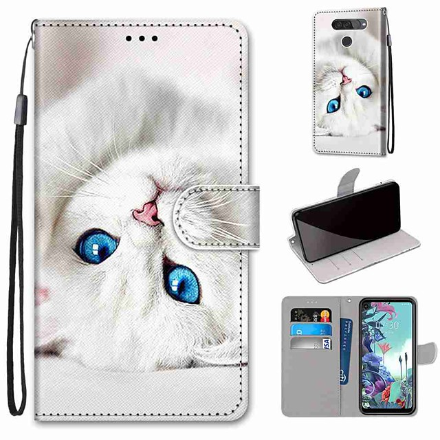 Case For LG Q70 / LG K50S / LG K40S Wallet / Card Holder / with Stand Full Body Cases White Cat PU Leather / TPU for LG K30 2019 / LG K20 2019