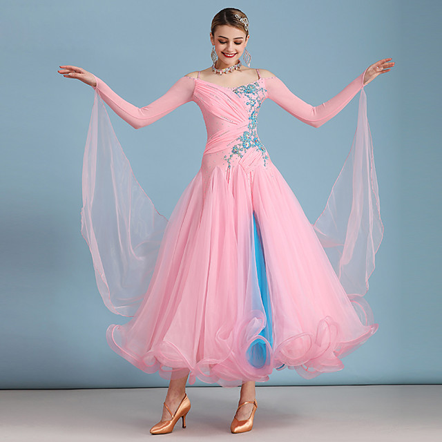 Ballroom Dance Dress Embroidery Split Joint Crystals / Rhinestones Women's Training Performance Long Sleeve Spandex Organza