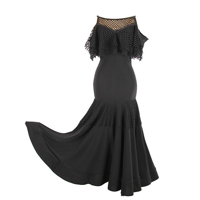 Ballroom Dance Dress Ruching Split Joint Women's Performance Short Sleeve Crystal Cotton