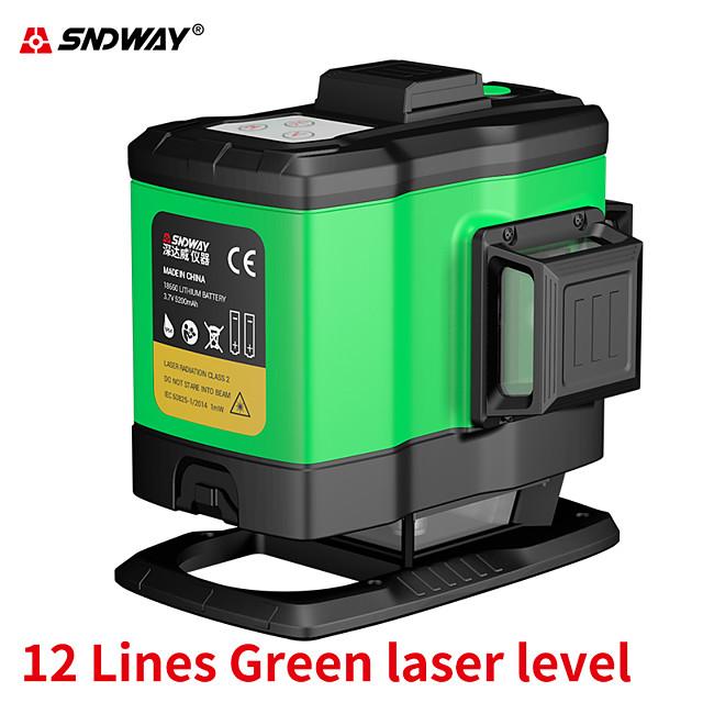 SW393G Sndway 3D 12 lines Green Beam Laser Level High Precision Self-Leveling Cross Line Lazer Level Horizontal & Vertical Laser-Level