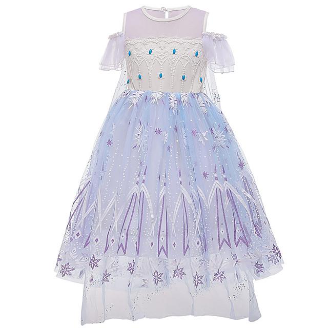 Princess Elsa Dress Flower Girl Dress Girls' Movie Cosplay A-Line Slip Purple Dress Children's Day Masquerade Tulle Cotton