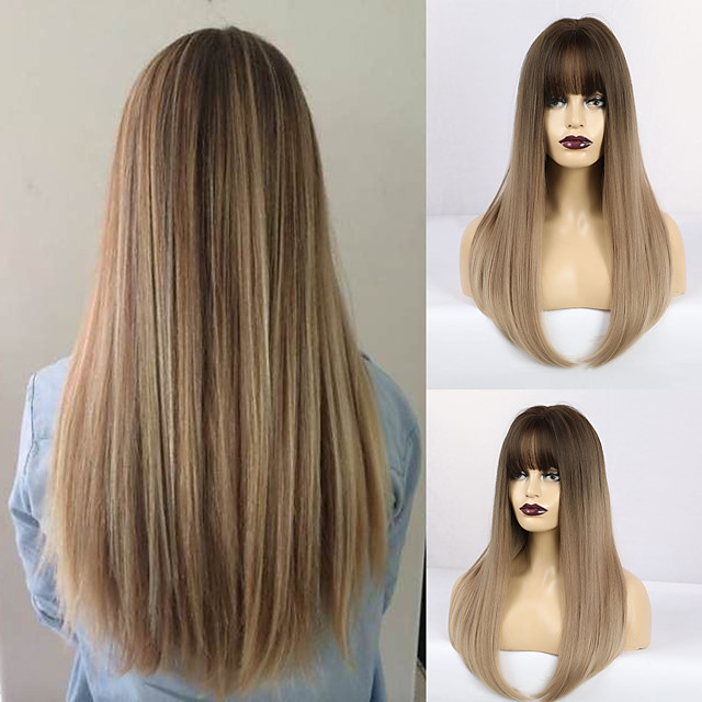Synthetic Wig Matte Natural Straight Modern Contemporary Neat Bang Wig Long Light Brown Synthetic Hair 22 inch Women's Natural Hairline Waterfall Brown