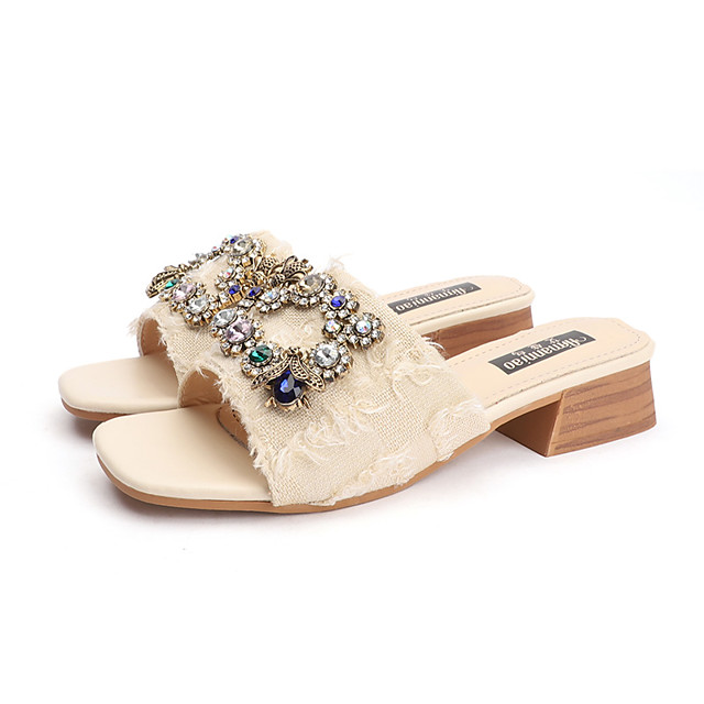 Women's Slippers & Flip-Flops Summer Block Heel Open Toe Casual Daily Outdoor Canvas Black / Beige