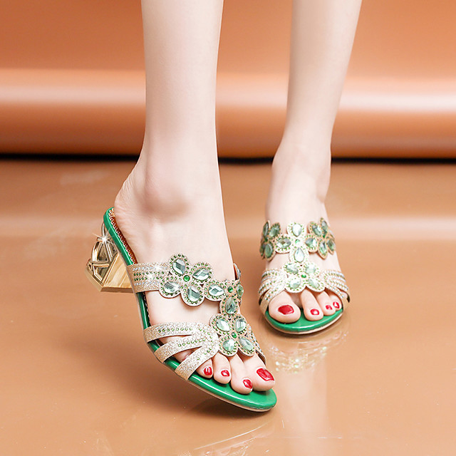 Women's Sandals 2020 Summer Pumps Open Toe Casual Daily Home Rhinestone Faux Leather Black / Gold / Green
