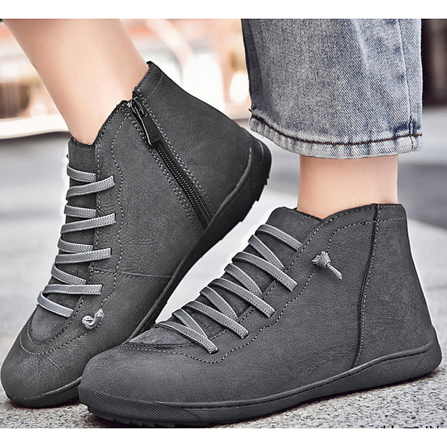 Women's Boots Fall & Winter Flat Heel Round Toe Daily PU Mid-Calf Boots Black / Brown / Gray