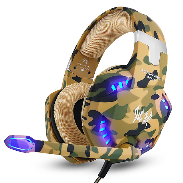 KOTION EACH G2600 Camouflage Gaming Headset Noise Cancelling Headphones Wired Earphone with Mic LED Light for PC