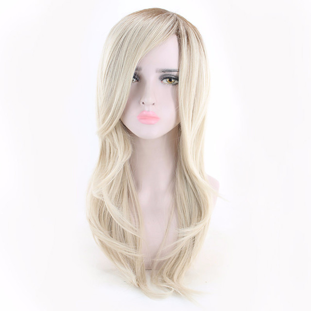 Synthetic Wig Curly Asymmetrical Wig Long Light Blonde Synthetic Hair 18 inch Women's Simple Classic Women Blonde