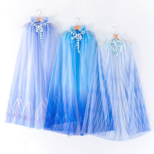 Princess Elsa Cosplay Costume Cloak Girls' Movie Cosplay Halloween Blue / Dark Blue / Light Blue Cloak Children's Day Masquerade Tulle