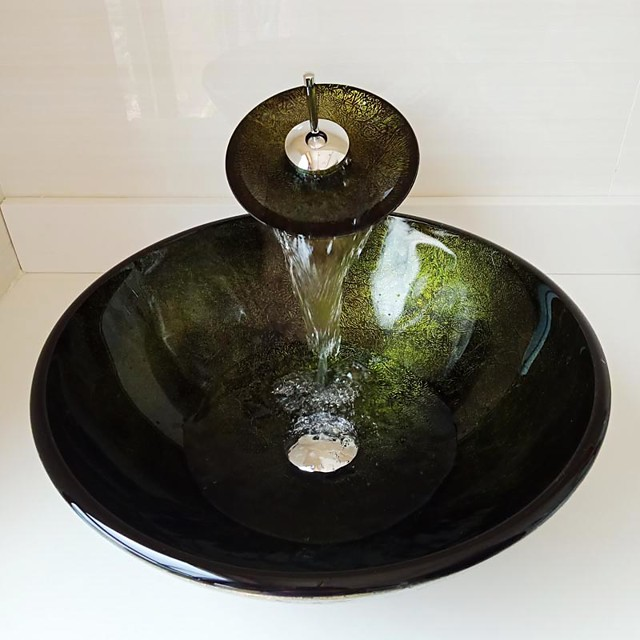 Round Green Foil Tempered Glass Vessel Sink with Waterfall Faucet Pop - Up Drain and Mounting Ring