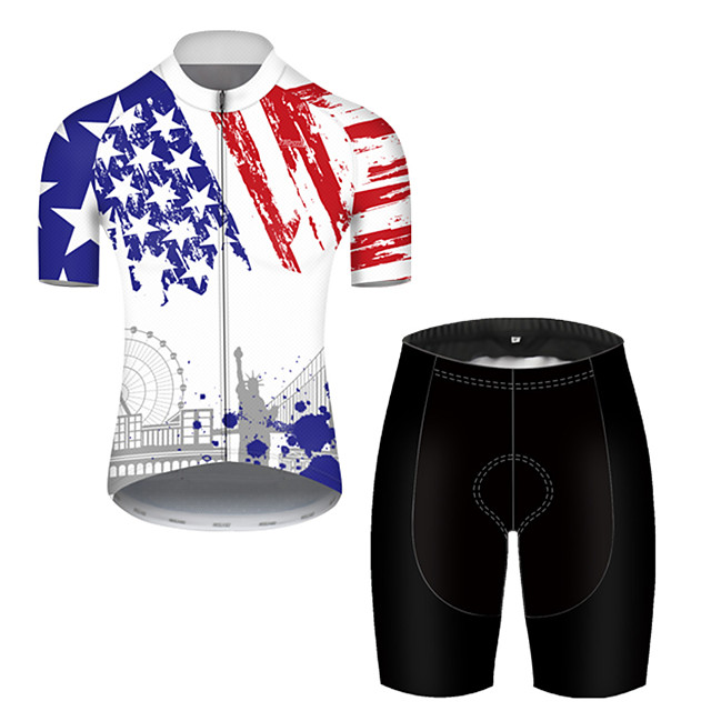 21Grams Men's Short Sleeve Cycling Jersey with Shorts Nylon Polyester Black / White American / USA National Flag Bike Clothing Suit Breathable Quick Dry Ultraviolet Resistant Reflective Strips