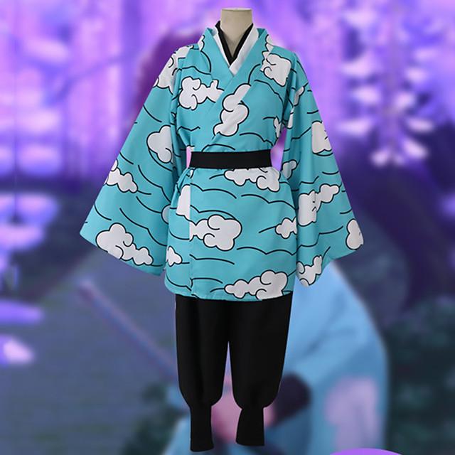 Esinlenen Şeytan Avcısı: Kimetsu yaiba Urokodaki Sakonji Anime Cosplay Kostümleri Japonca Cosplay Takımları Top Pantalonlar Kimono Palto Uyumluluk Erkek / Bel Kemeri