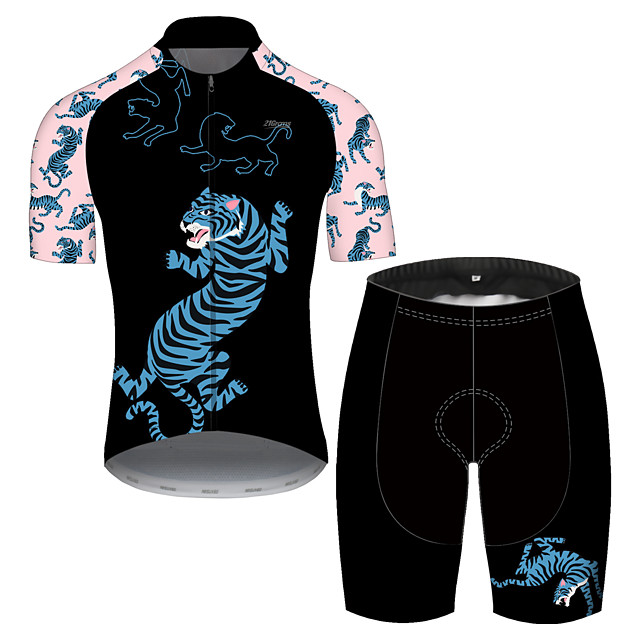 21Grams Men's Short Sleeve Cycling Jersey with Shorts Spandex Polyester Black / Pink Oktoberfest Beer Bike Clothing Suit UV Resistant Quick Dry Sports Solid Color Mountain Bike MTB Road Bike Cycling