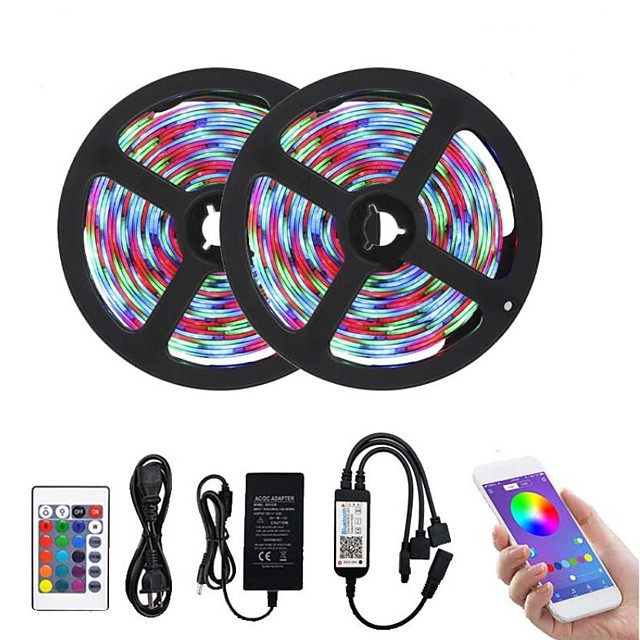 Bluetooth LED Strip Lights RGB Tiktok Lights 2835 10M (2 x 5M) 600 LEDs Smart-Phone Controlled Waterproof for Home Outdoor Decoration 12V 6A Adapter