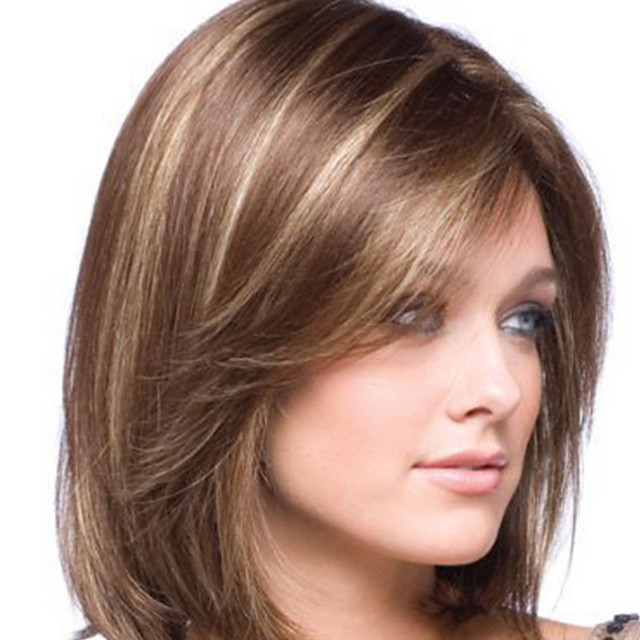 Synthetic Wig kinky Straight Middle Part Wig Short Light Brown Synthetic Hair 8 inch Women's Easy dressing Highlighted / Balayage Hair Exquisite Brown