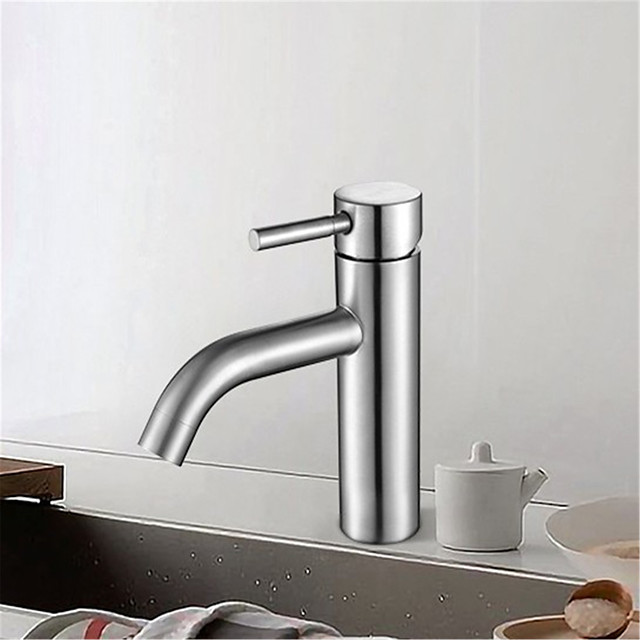 Pin bend faucet single hole faucet basin top low faucet stainless steel hot and cold faucet