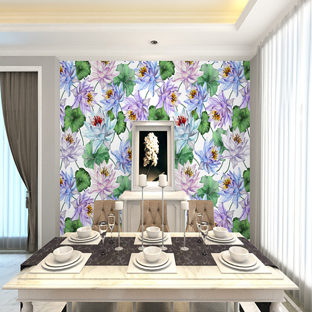 Art Deco  Custom Self-Adhesive Mural Wallpaper Lotus Flower Is Suitable For Bedroom Living Room Coffee Shop Restaurant And Hotel Wall Decoration Art