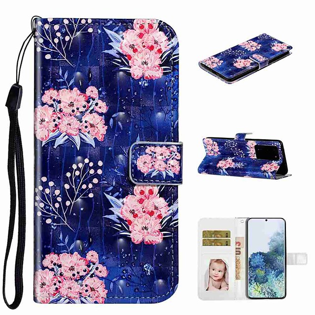 Case For Samsung Galaxy S20 / Galaxy S20 Plus / Galaxy S20 Ultra Wallet / Card Holder / with Stand Full Body Cases Pink Flower PU Leather / TPU for Galaxy A51 / A71 / A80 / A70 / A50 / A30S / A20