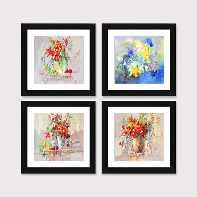 Framed Art Print Framed Set 4 American Style Pastoral Decorative Painting French Style Dining room Fresco Porch Bedroom Bedside  Abstract Flowers Hanging Pictures