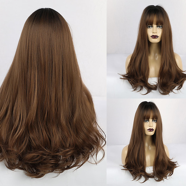 Synthetic Wig Curly Matte Middle Part Neat Bang Wig Long Light Brown Synthetic Hair 26 inch Women's Adorable curling Dark Brown