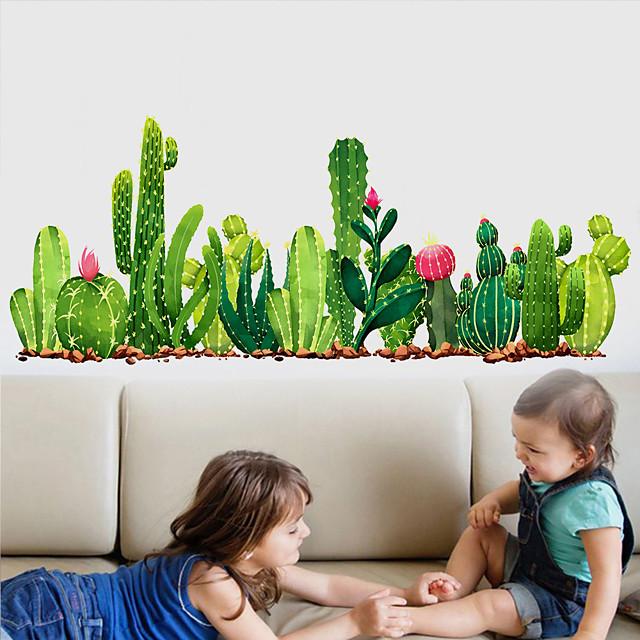 Green Cactus Plants Wall Stickers for Bedroom Living Room Dining Room Kitchen Kids Room DIY Vinyl Wall Decals Door Murals