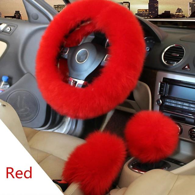 Winter Furry Car Steering Wheel  Gear Knob Shifter Parking Brake Covers Set 3Pcs