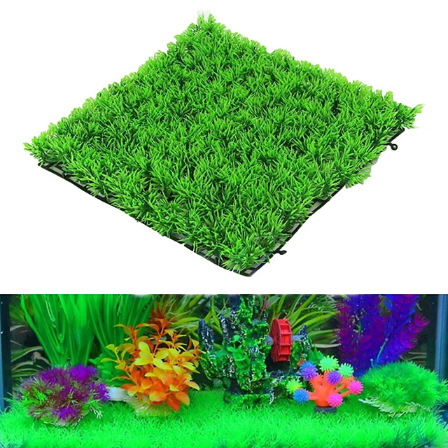 25*25cm Aquarium Turf Artificial Plants Green Grass Fish Tank Landscape Simulation Aquatic Water Lawn