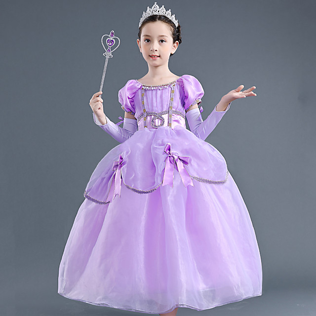 Princess Rapunzel Dress Flower Girl Dress Girls' Movie Cosplay A-Line Slip Purple Dress Children's Day Masquerade Tulle Polyester