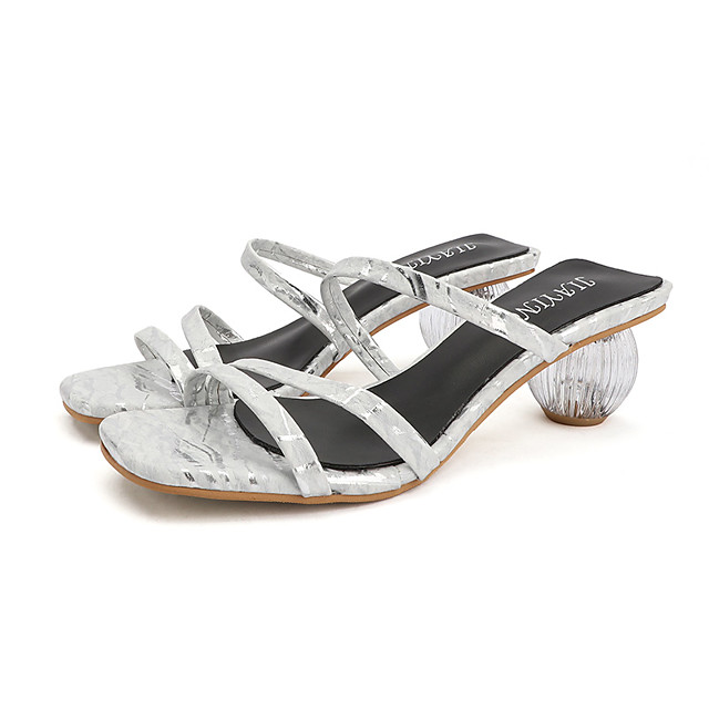 Women's Sandals Summer Decorative Heel Open Toe Daily Outdoor PU Black / Silver