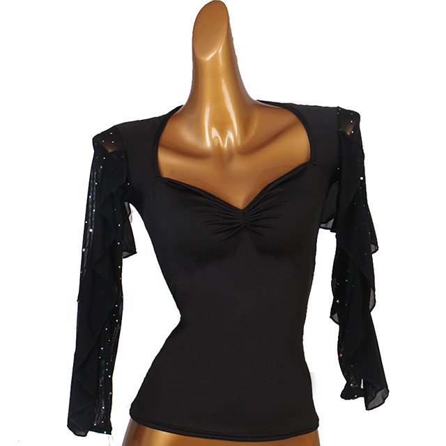 Ballroom Dance Top Crystals / Rhinestones Women's Performance Long Sleeve Spandex Organza