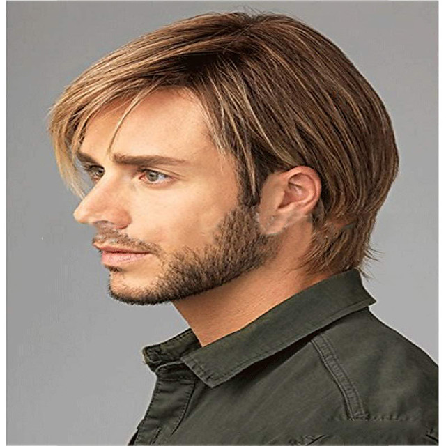 Synthetic Wig kinky Straight Pixie Cut Wig Short Light golden Synthetic Hair 12 inch Men's Classic Easy dressing Cool Blonde