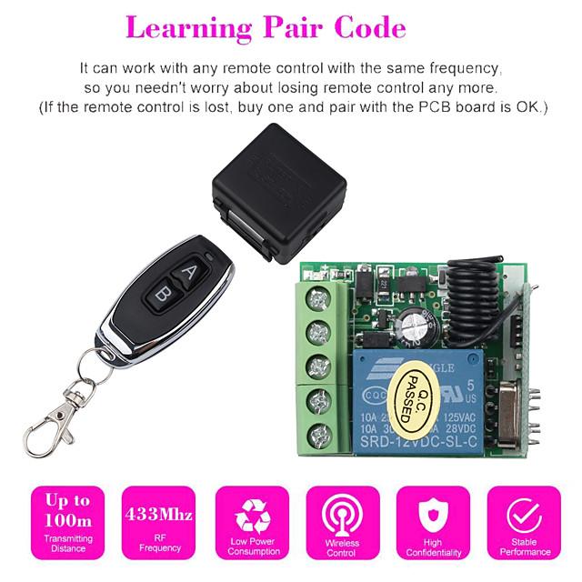 Trasmettitore RF 1p 433 mhz telecomandi con interruttore telecomando senza fili dc modulo ricevitore relè 12v 1ch