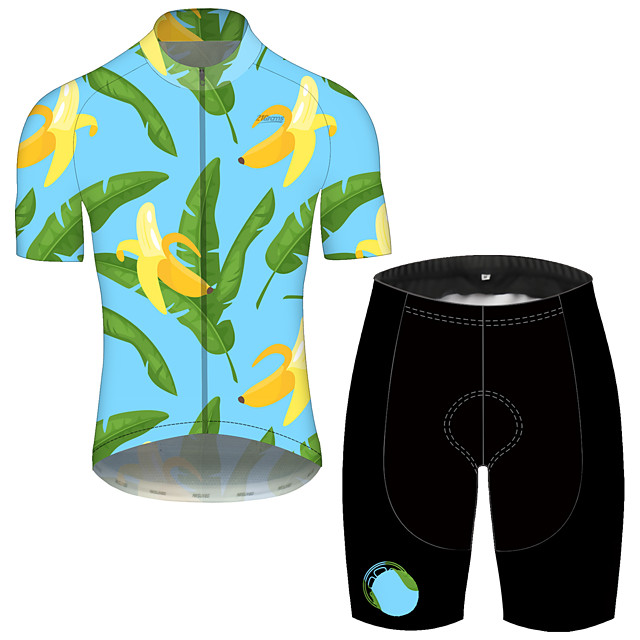 21Grams Men's Short Sleeve Cycling Jersey with Shorts Spandex Polyester Green Cat Animal Bike Clothing Suit UV Resistant Breathable 3D Pad Quick Dry Reflective Strips Sports Cat Mountain Bike MTB