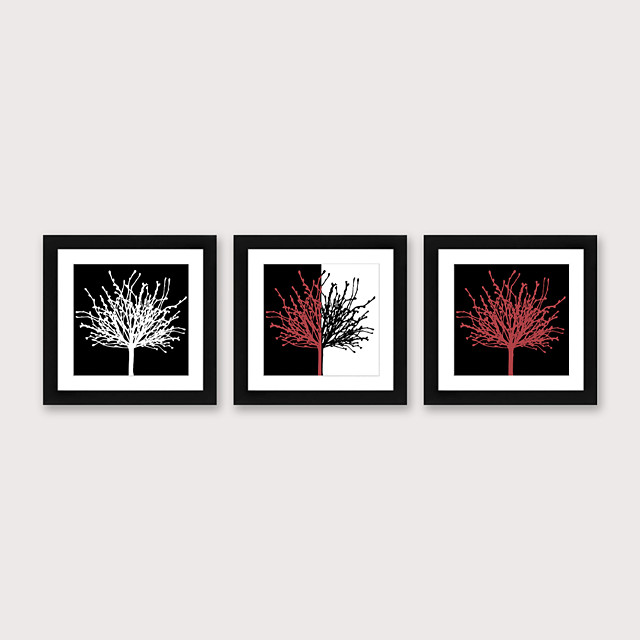 Framed Art Print Framed Set 3 - Abstract Black And White Red Flowers PS Illustration Wall Art Ready To Hang