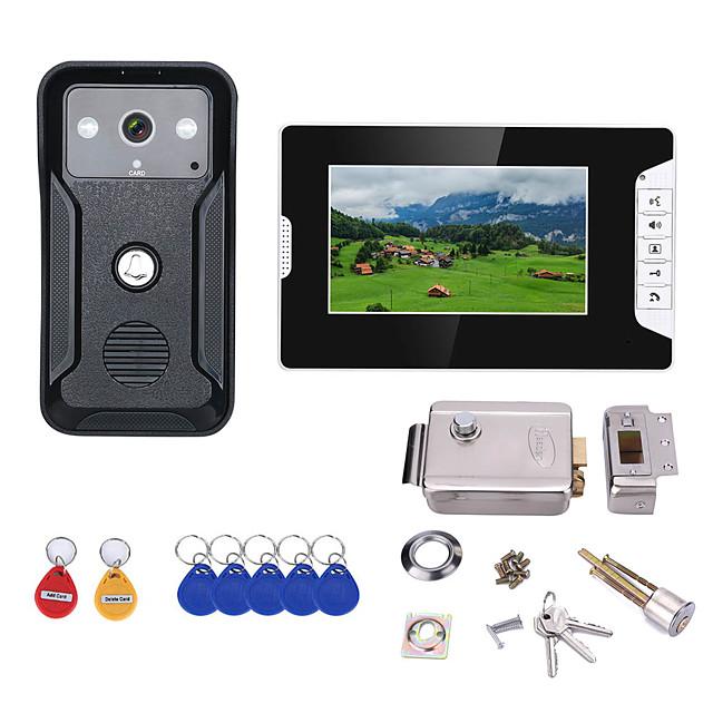 7 Inch Video Intercom Door Phone RFID System with HD Doorbell 1000TVL Camera with Home Stainless Steel Electronic Door Lock