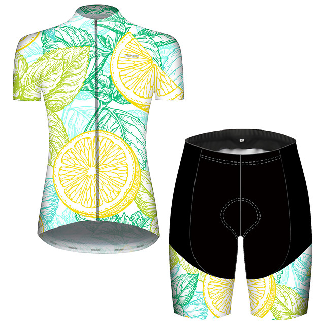 21Grams Women's Short Sleeve Cycling Jersey with Shorts Spandex Polyester Green Fruit Lemon Bike Clothing Suit Breathable 3D Pad Quick Dry Ultraviolet Resistant Reflective Strips Sports Fruit