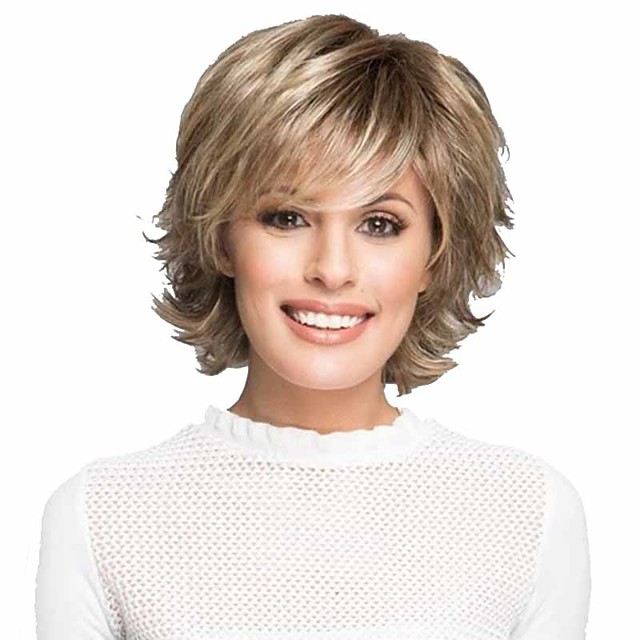 Synthetic Wig Curly Matte Layered Haircut Wig Short Light golden Synthetic Hair 6 inch Women's Fashionable Design Easy dressing Fluffy Blonde