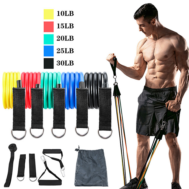 Resistance Band Set Exercise Resistance Bands 11 pcs 5 Stackable Exercise Bands Door Anchor Legs Ankle Straps Sports TPE Home Workout Pilates CrossFit Heavy-duty Carabiner Strength Training Muscular