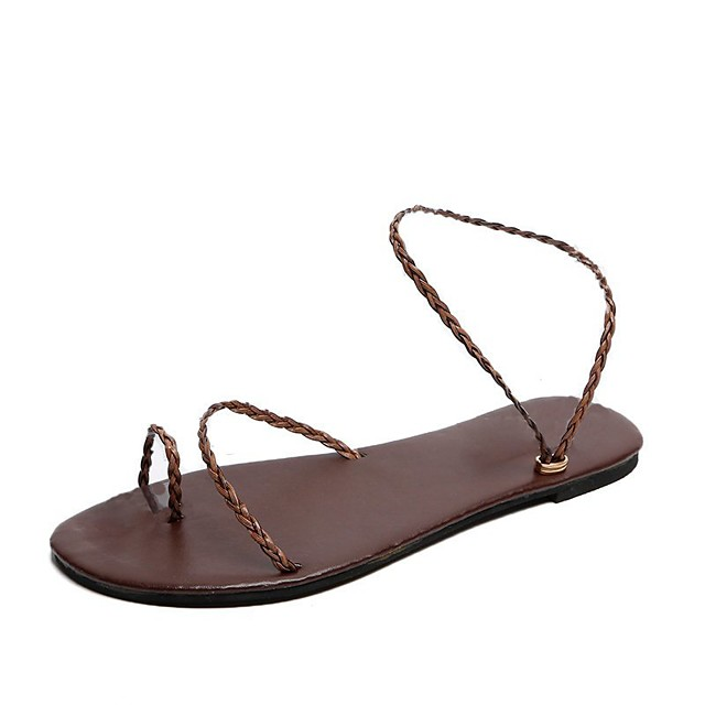Women's Sandals Flat Sandal 2020 Spring &  Fall / Spring & Summer Flat Heel Open Toe Casual Sexy Daily Outdoor PU Black / Brown