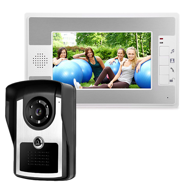 7 Inch Wire Video Door Phone Home Intercom System IR Camera with Unlock Monitor Function P812M11