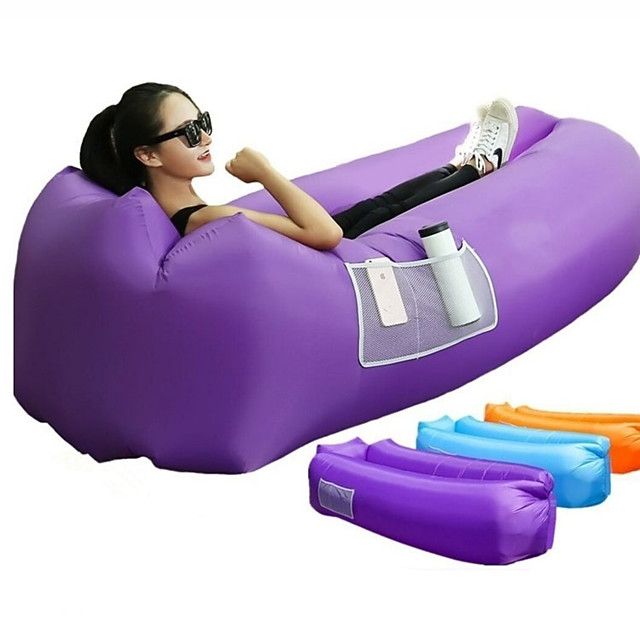 Air Sofa Inflatable Sofa Sleep lounger Outdoor Portable Fast Inflatable Anti-Air Leaking Design Terylene 260*70 cm Beach Camping Traveling Spring Summer Blue Violet Burgundy