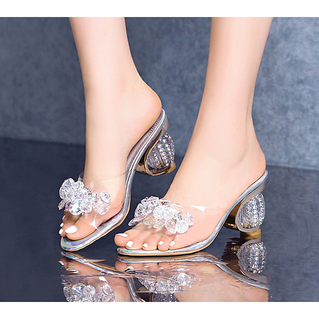 Women's Sandals Summer Sculptural Heel Open Toe Daily PU Silver / Clear / Transparent / PVC