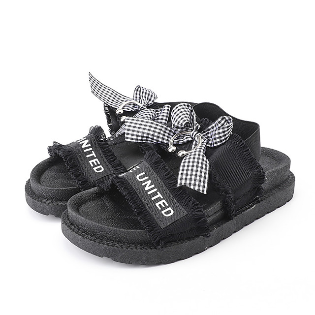 Women's Sandals Flat Sandal Summer Flat Heel Open Toe Casual Daily Outdoor Bowknot Slogan Canvas White / Black