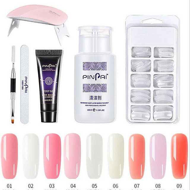 Polygel Kit With UV LED Lamp Nail Extension Builder Gel Full Cover Nail Tips,Brush, File, Poly Gel Colors Gel and Liquid Polygel Nail Builder Kit(Six-piece set)